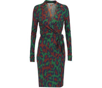 Savannah Leopard-print Silk-jersey Wrap Dress Grün