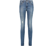 Super Skinny Distressed Mid-rise Jeans Mittelblauer Denim