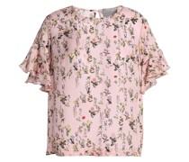 Ruffled Floral-print Silk-jacquard Top