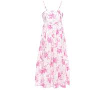 Woman Gathered Floral-print Cotton-poplin Midi Dress Pink