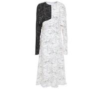 Cold-shoulder Cutout Printed Twill Midi Dress