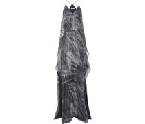 Woman Layered Metallic Printed Silk-blend Chiffon Gown Gray