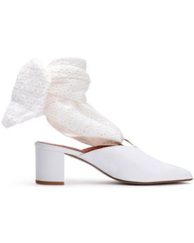 Amber Leather And Broderie Anglaise Mules White
