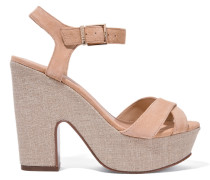 Noreen Canvas And Suede Sandals Beige