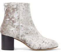 Woman Drea Crushed-velvet Ankle Boots Silver
