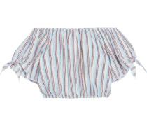 Colette Cropped Off-the-shoulder Striped Linen-jacquard Top