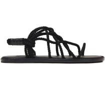 Sandalen aus Kordel mit Lederbesatz