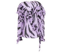 Ruffled Zebra-print Georgette Blouse