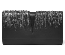 Embroidered Cutout Leather Clutch Schwarz