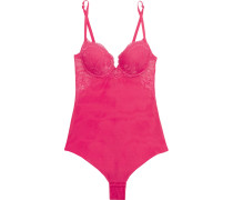 Begonia Stretch-tulle And Lace Bodysuit Bonbonrosa