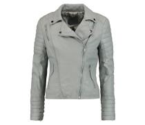 Leather Biker Jacket Graugrün
