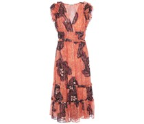 Ruffled Fil Coupé Silk And Lurex-blend Georgette Midi Dress