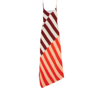 Connie Asymmetric Striped Crepe Maxi Dress Burgunder