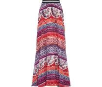 Printed Silk-georgette Maxi Skirt Mehrfarbig