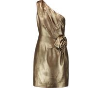 One-shoulder Flower-embellished Lamé Mini Dress Gold