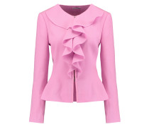 Ruffled Wool-crepe Jacket Pink