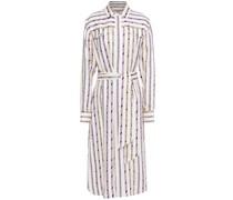 Belted Printed Silk-twill Midi Shirt Dress