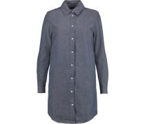 Cotton and silk-blend mini shirt dress