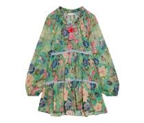 Luana Strandkleid aus Baumwoll-voile mit Floralem Print und Häkelbesatz