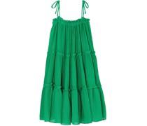 Ruffled Tiered Linen-blend Dress