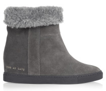 Faux Shearling-lined Suede Wedge Ankle Boots Dunkelgrau