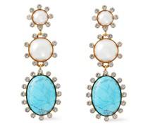 24 Kt. Vergoldete Ohrringe mit Verschiedenen Steinen