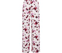 Erica Printed Stretch-cady Wide-leg Pants