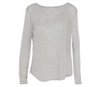 Striped Gray And White Linen-blend Top Grau
