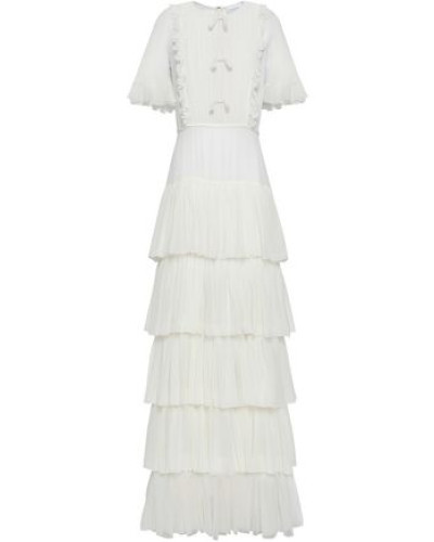 Tiered Pintucked Silk-chiffon Gown Ivory