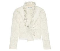 Ruffled Cotton-blend Lace Jacket Elfenbein