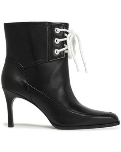 Lace-up Leather Ankle Boots Black