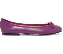 India bow-embellished leather ballet flats