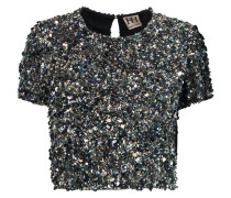 Cropped Sequined Silk Top Stahlgrau
