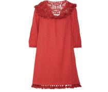 Paneled macramé, fil coupé cotton and broadcloth mini dress