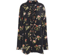 Oversized Floral-print Silk-satin Shirt