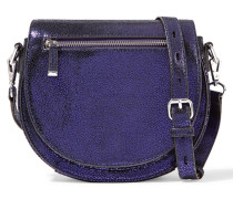 Astor Metallic Brushed-leather Shoulder Bag Lila