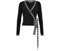 Sequin-trimmed Silk-blend Cardigan Schwarz