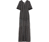 Cutout Printed Silk-chiffon Maxi Dress Schwarz