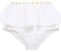 Ruffled Embroidered Ribbed High-rise Bikini Briefs