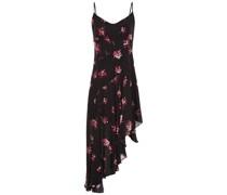 Asymmetrisches Kleid aus Crêpe De Chine aus Seide mit Floralem Print