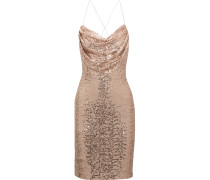 Draped Sequined Tulle Dress Puder