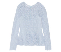 Cotton-lace Top Himmelblau