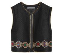 Embroidered Quilted Jacquard Vest Schwarz