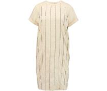 Embroidered Stretch-silk Dress Ecru