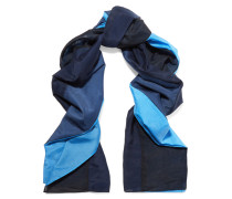 Printed Cotton And Silk-blend Scarf Blau