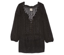 Embroidered Lace-up Fil Coupé Silk Top Schwarz