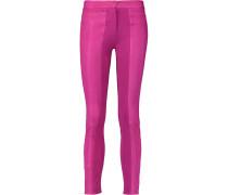 Jersey-paneled Leather Skinny Pants Magenta