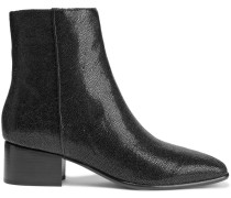Aslen Glossed Stingray-effect Leather Ankle Boots