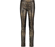 Printed Faux Leather Skinny Pants Gold