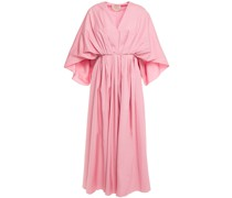 Gathered Pleated Cotton-poplin Midi Dress